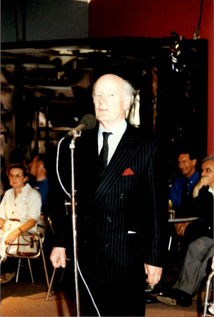 Sir Robin Chichester Clark speaking to the cast of TV drama London's Burning during their 1996 visit to Mount Vernon Hospital