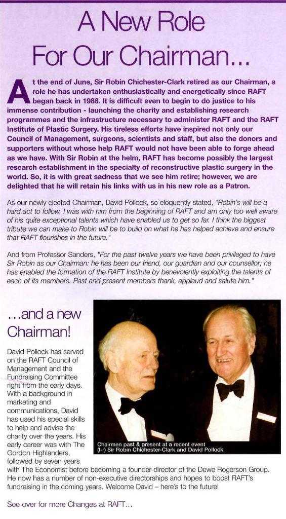 RAFT newsletter announcing Sir Robin's retirement as chair.